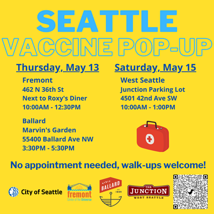 A yellow background with text information about pop-up vaccination clinics in Ballard, Fremont, and West Seattle.