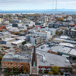 Aerial shot of the Capitol Hill neighborhood in Seattle