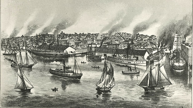 An etching of early Puget Sound