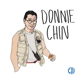 """An illustration of a man in a khaki vest with a patch on the left breast, and a handheld radio clipped. Text says """"Donnie Chin"""""""