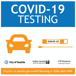 A flyer that says COVID-19 Testing and has graphic design of a car, q-tip swap, and logos.