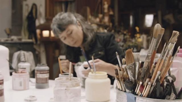 Saya Moriyasu works on a sculpture in her studio