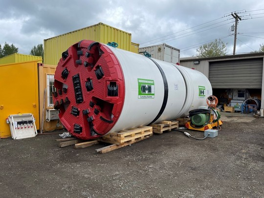Our 8-ft conveyance tunnel boring machine, currently waiting to be transported to our project site in Fremont.