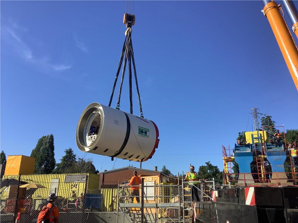 Our 8-ft conveyance tunnel boring machine was delivered and lowered into the shaft in Fremont, where it's tunneling journey will begin.