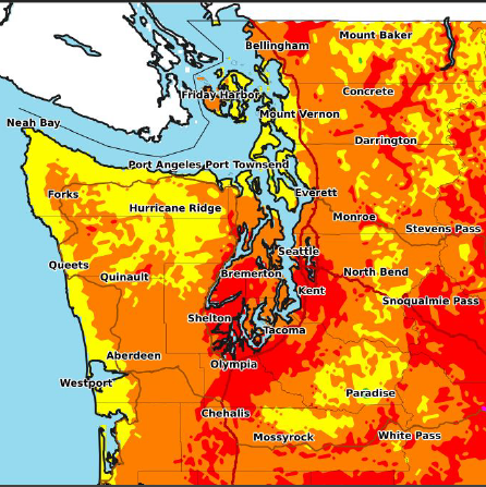 A heat map of the Puget Sound region covered in red, orange, and yellow indicating extreme temperatures