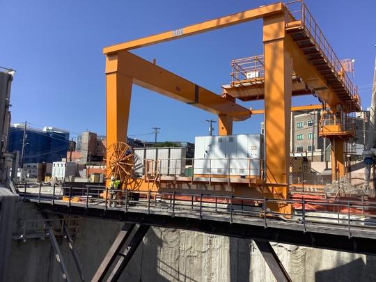 Gantry crane assembled at the Ballard shaft site