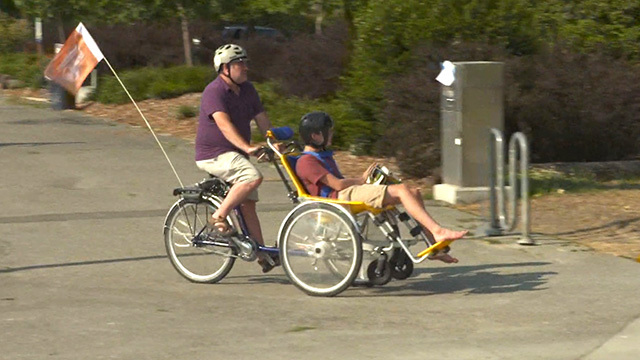 Cyclists on adaptive bike rentals