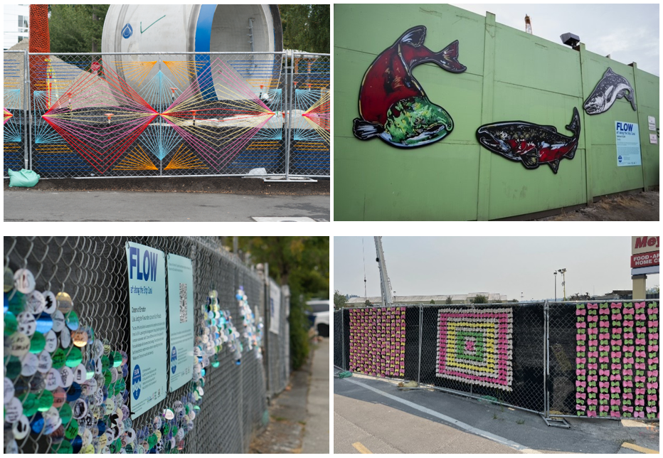 Current temporary art installation on display at four Ship Canal Water Quaity Project sites.