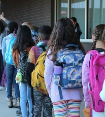 Students In Line At Wing Luke Elementary