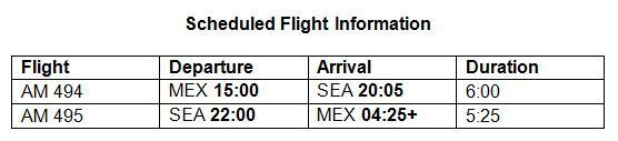 Aeromexico flight schedule