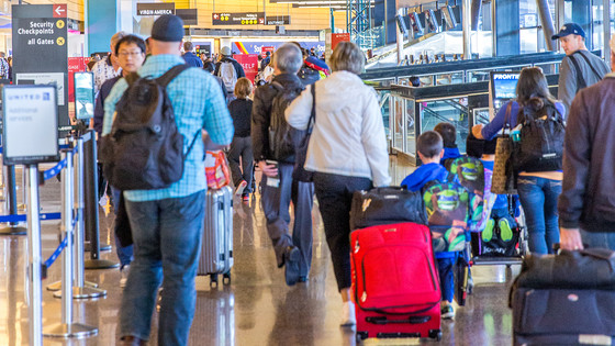 Ticketing on a busy day at Sea-Tac Airport