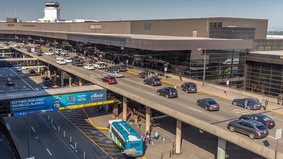Aerial of Sea-Tac Airport Drives
