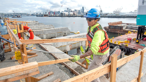 """Construction worker on the Terminal 5 renewal project to make it """"ship ready"""", September 11, 2019"""