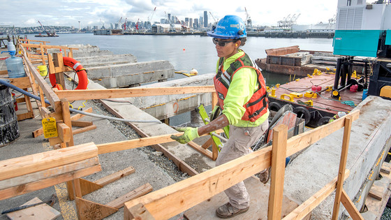 Construction worker on the Terminal 5 modernization project, July 2019, Seattle