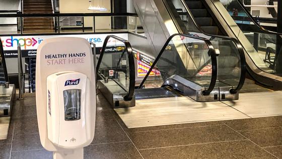 Hand sanitizer dispenser at SEA Airport, April, 2020
