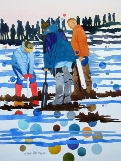 Painting of three people digging in snow