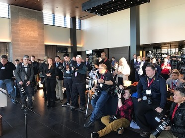 Photo of media at news conference