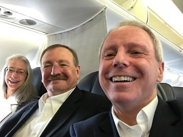 Image of Terry and Executive Somers  and Elaine Somers on first flight