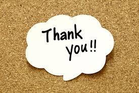 Image of Thank You  note on bulletin board
