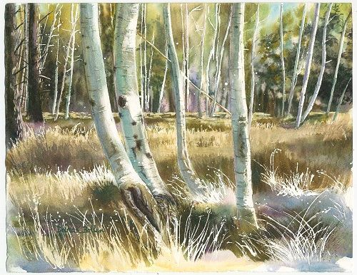 Painting of trees and grass