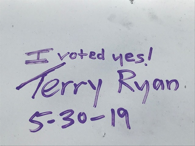 I Voted Yes - Terry Ryan's Note