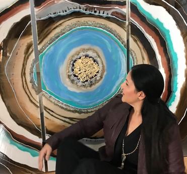 Kimberly Leo with Art PIece