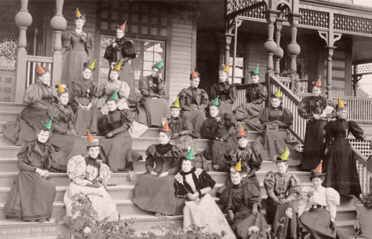 Vintage Picture of people on Library steps with computerized party hats on