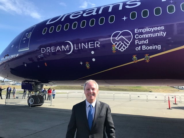 Photo of Chair Ryan in front of Dreamliner