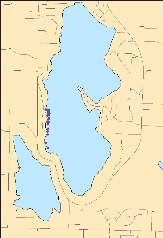 Map of milfoil plant locations
