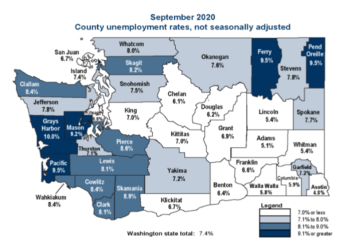 County unemployment rates depicted on map of Washington state