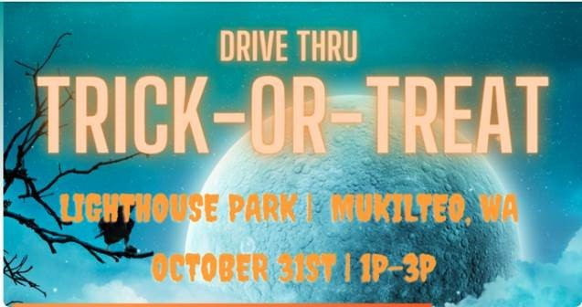 Advertisement for Mukilteo drive-thru trick or treat event