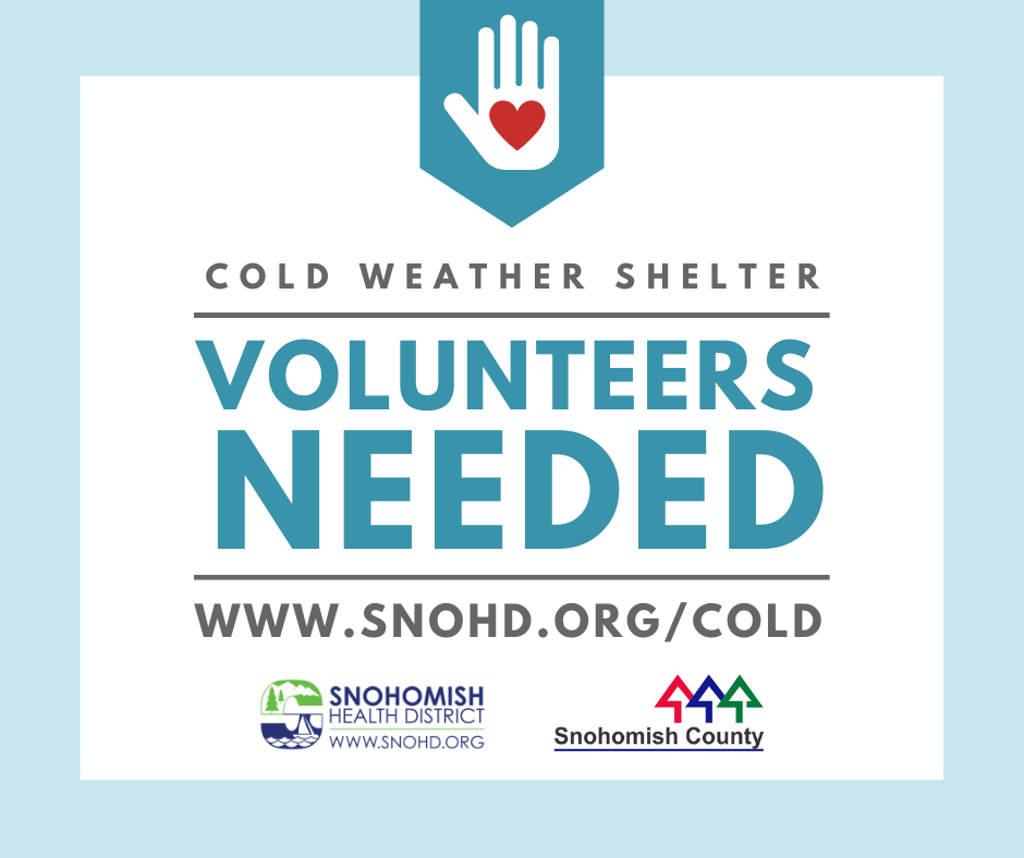 Advertisement for volunteers needed for Cold Weather Shelters