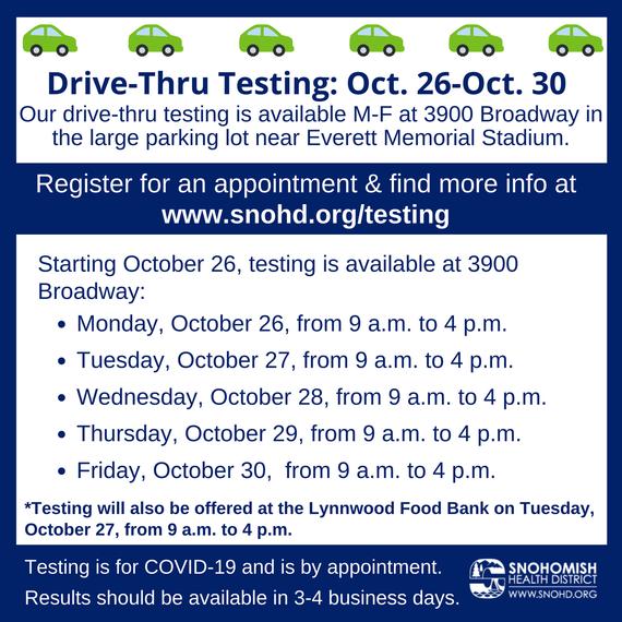Drive-thru testing schedule for 10-26 thru 10-30