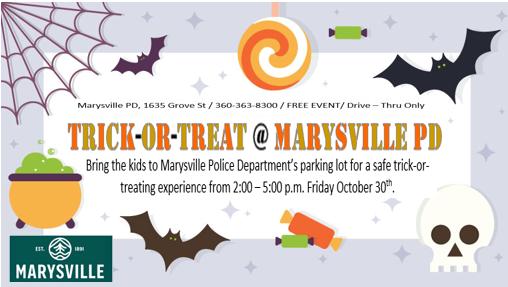 Marysville PD drive-thru trick or treat, Fri. Oct 30th