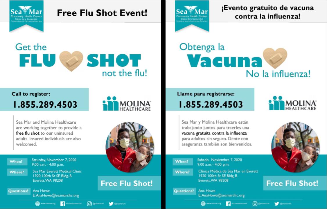 Advertisement for free flu shot clinic in Everett 11-7-2020