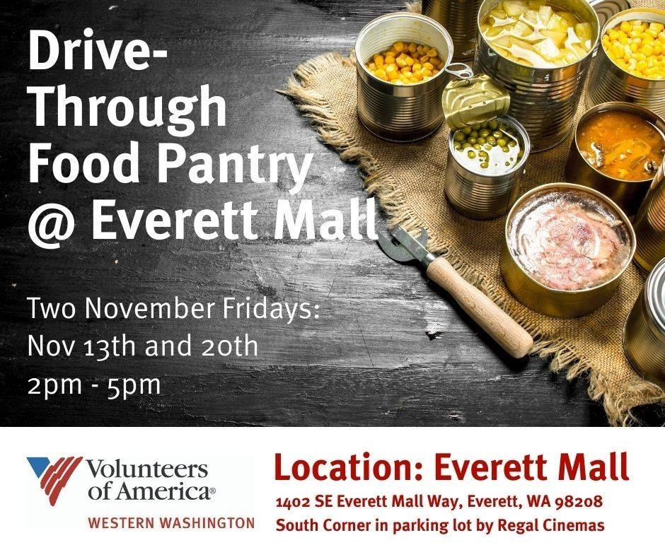 Drive thru food pantry at Everett Mall 11-13 and 11-20
