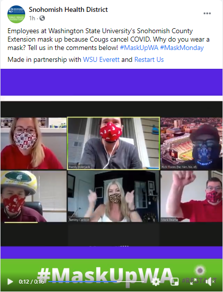 Screenshot from Cougs cancel COVID social media video