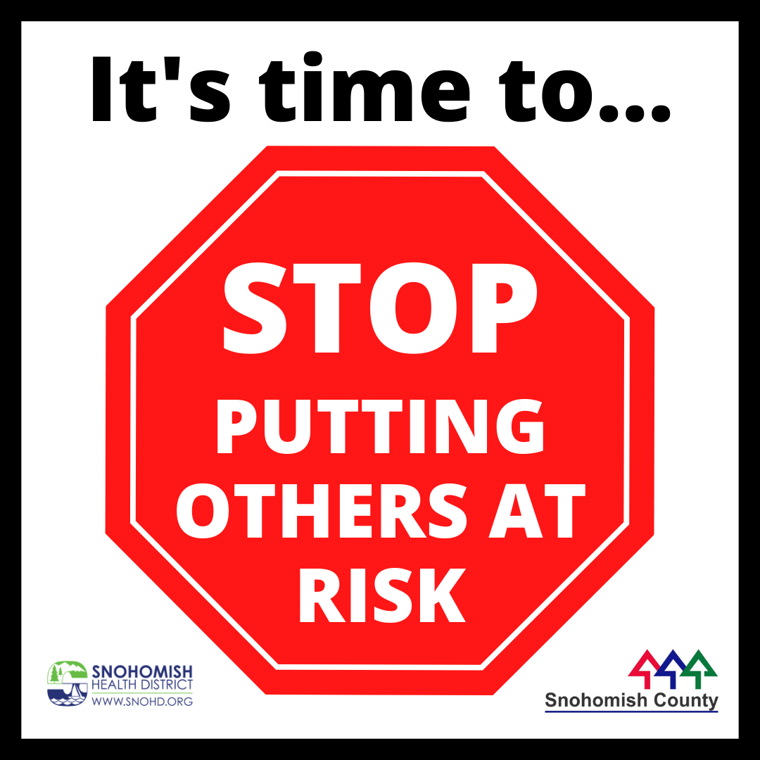 """Screen shot of social media video """"STOP putting others at risk"""""""