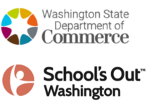 Washington state Department of Commerce and Schools Out Washington logos