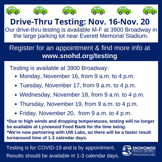 Snohomish Health District COVID testing schedule for 11-16-20 through 11-20-20