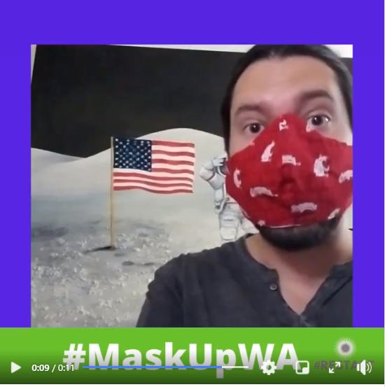 Screenshot of #MaskUpWA social media post featuring Randy Bolerjack