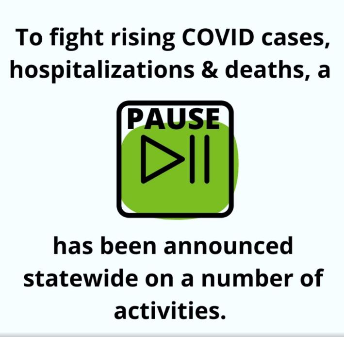 screenshot of social media video explaining November COVID restrictions