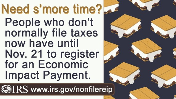 Advertisement stating IRS deadline for EIP for non-filers is 11-21-20