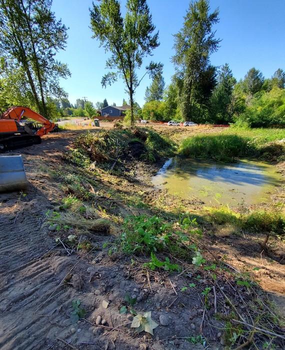 Meadow Creek Park detention pond before construction.