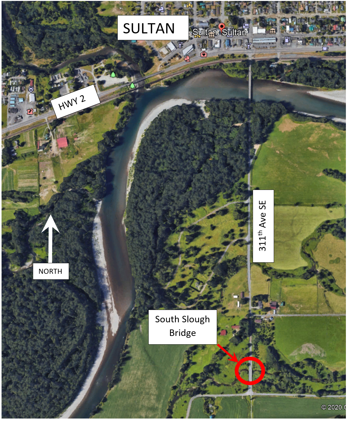 Map of new water level gauge at South Slough, Skykomish River.