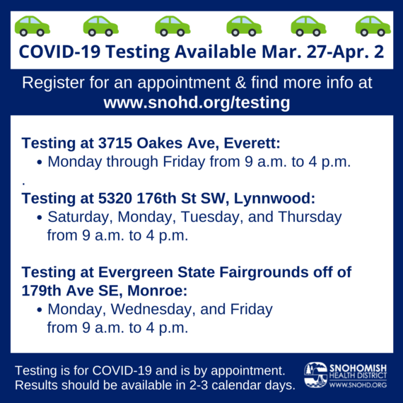COVID-19 drive thru testing schedule for the week of March 29