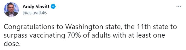 Image of Andy Slavitt tweet regarding Washington state