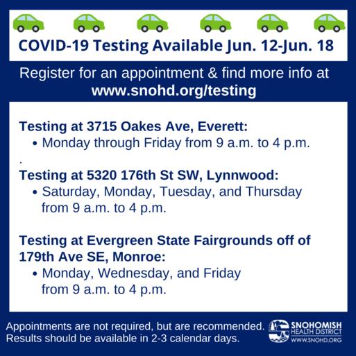 Drive thru COVID testing schedule 6-11-21