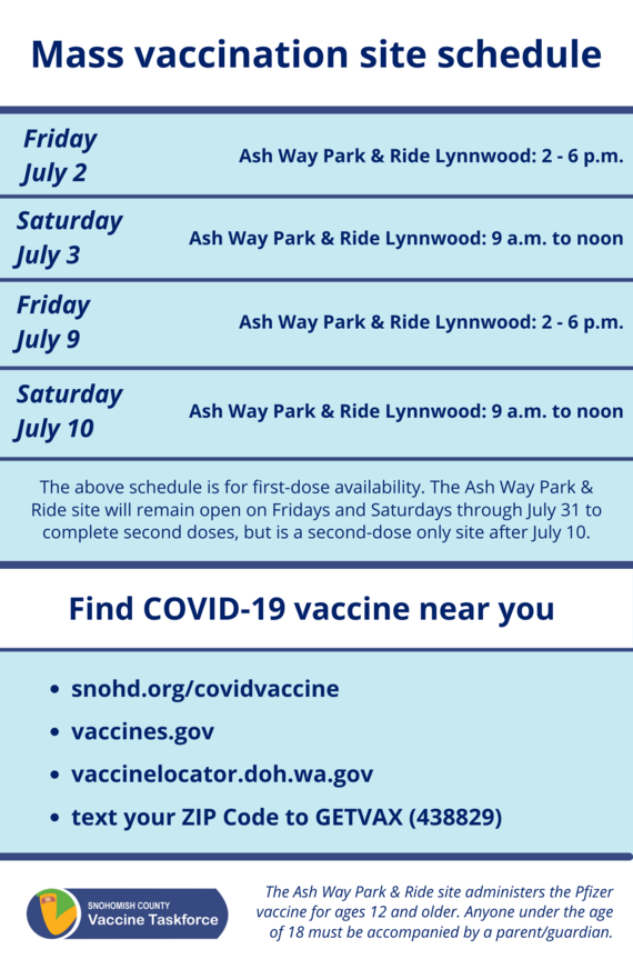 Mass vaccination site schedule July 2021
