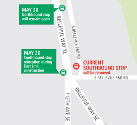 South Bellevue Park-and-Ride closure map.
